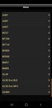Selection list of the manufacturer Beurer in the Android App
