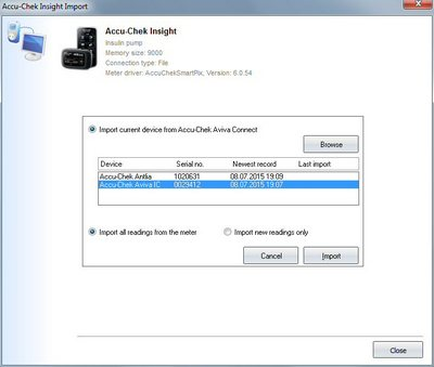 Import your readings from Accu-Chek Insight into your log book
