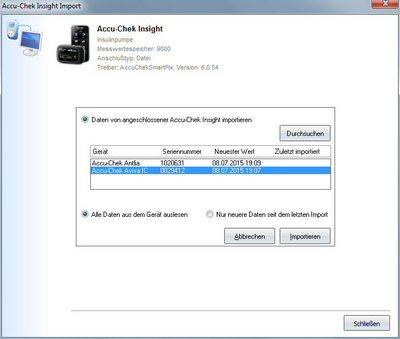 Datenübernahme aus Accu-Chek Smart Pix Software ins Diabetes-Tagebuch