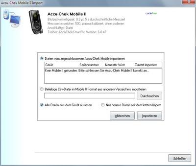 Datenübernahme vom Accu-Chek Mobile II ins Diabetes-Tagebuch