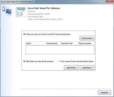 Datenübernahme von Accu-Chek Smart Pix Software ins Diabetes-Tagebuch