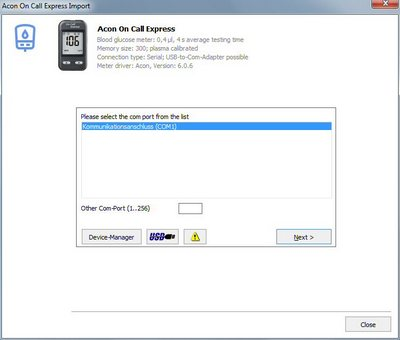 Import your readings from an Acon On Call Express into your log book