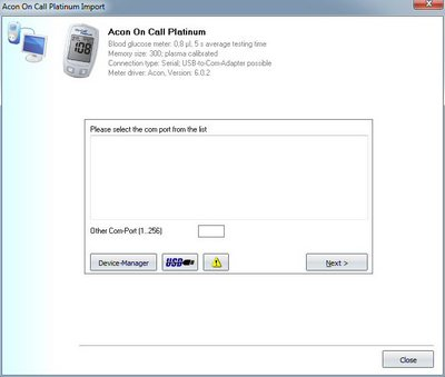 Import your readings from an Acon On Call Platinum into your log book