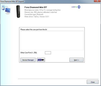 Import your readings from Fora Diamond Mini BT into the log book