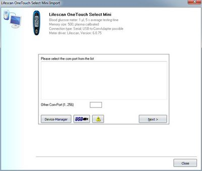 Import your readings from Lifescan OneTouch Select Mini into the log book