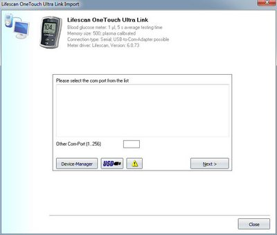 Import your readings from Lifescan OneTouch UltraLink into the log book
