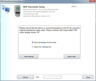 Import your readings from an MSP GlucoSmart Swing into your log book