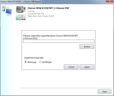Data import from the Omron-Software import file