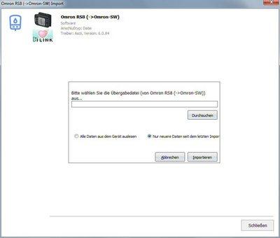 Datenübernahme von Omron-Software Importdatei