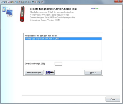 Import your readings from Simple Diagnostics CleverChoice Mini into the log book