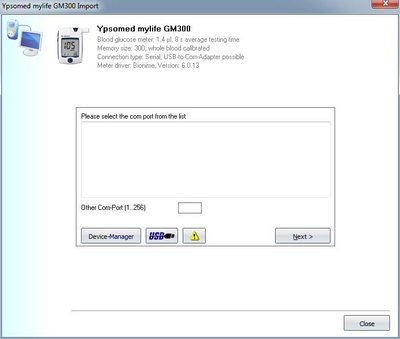 Import your readings from Ypsomed mylife GM 300 into your log-book