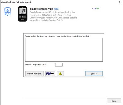 Import your readings from diabetikerbedarf db adia into your log book