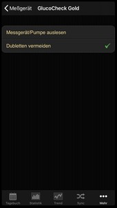 Data transfer from the Aktivmed GlucoCheck Gold into the diabetes logbook of the iOS App