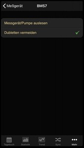 Data transfer from the Beurer BM 57 into the diabetes logbook of the iOS App