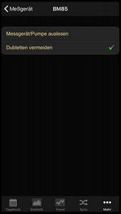Data transfer from the Beurer BM 85 into the diabetes logbook of the iOS App