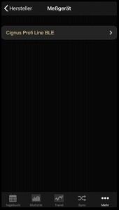 Auswahlliste des Herstellers Cignus in der iOS App