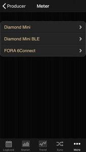 Selection list of the manufacturer Fora in the iOS App