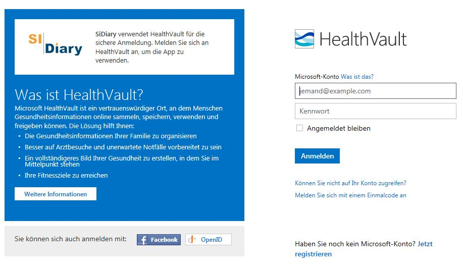HealthVault Login mit Windows Live ID