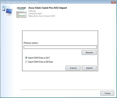 Import your readings from Accu-Chek Camit Pro into your log-book