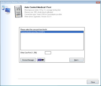 Import your readings from Autocontrol Medical iTest into your log-book