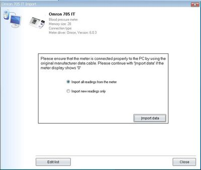 Import your readings from Omron 705 IT into your log-book
