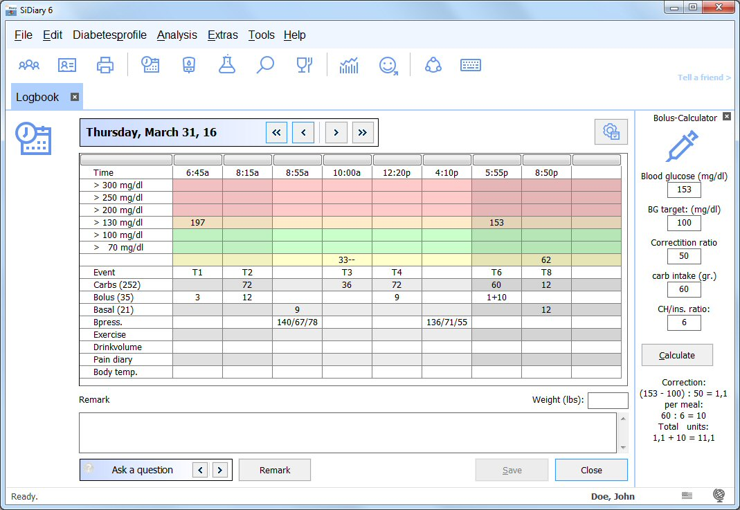 SiDiary Diabetes Management Screen shot
