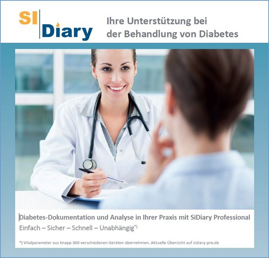 SiDiary - Diabetes Software Infoflyer für Ärzte