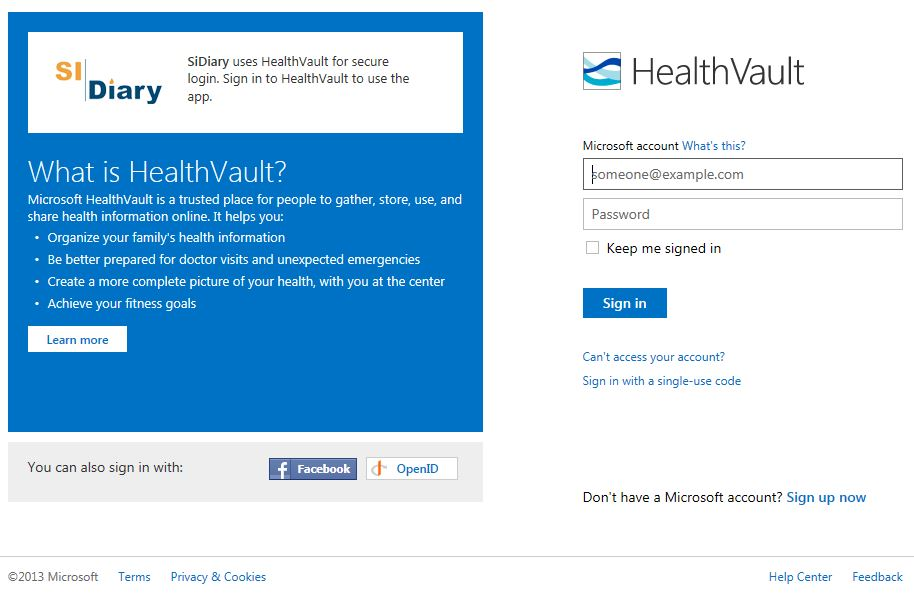 Healthvault Login with Windows Live ID